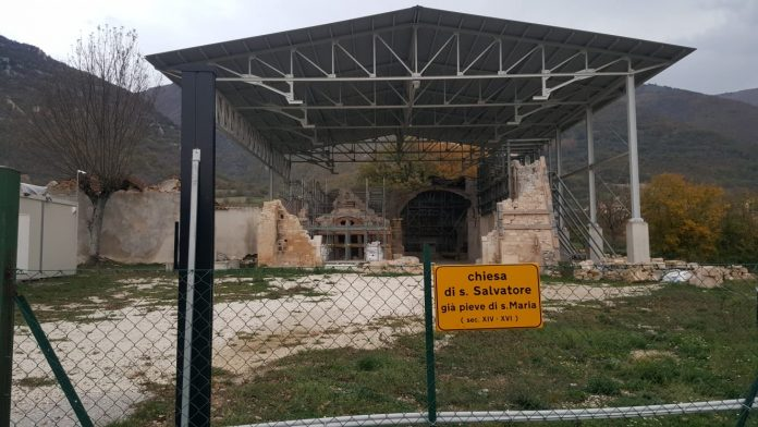 San Salvatore (Campi) - chiesa dopo sisma 2016